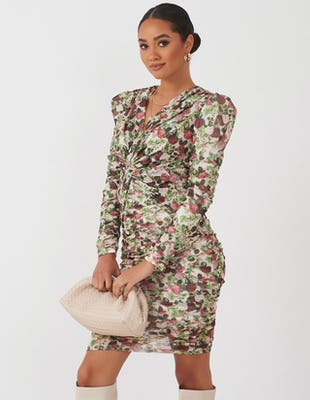 Vintage Floral Ruched Dress