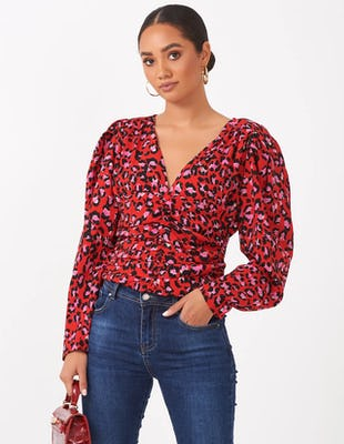 Red Leopard Print Top