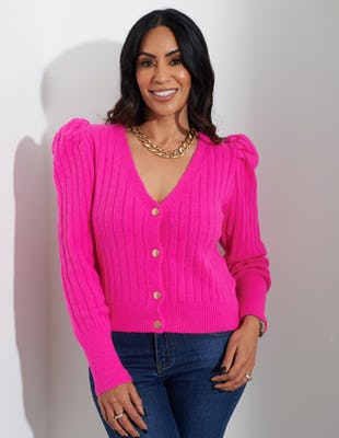 Fuchsia Puffed Shoulder Cardigan