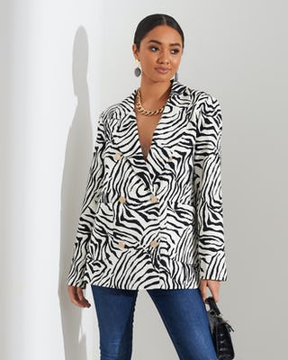 Zebra Print Double Breasted Blazer