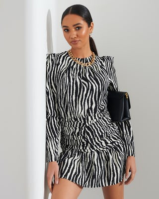 Zebra Print Shoulder Pad Mini Dress