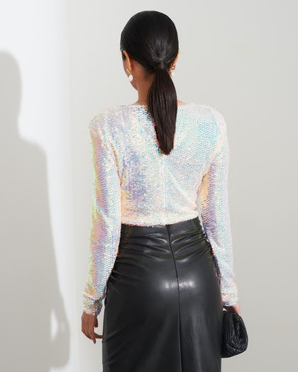 White Iridescent Sequin Top