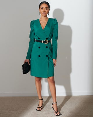 Ivy Green Belted Blazer Dress