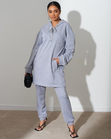 Grey Long Length Zip Up Hoodie