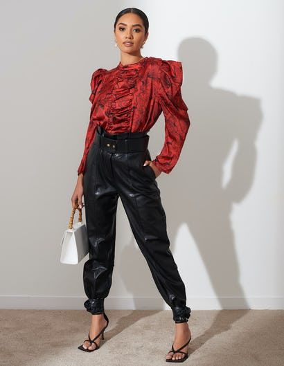 Red Shell Print Ruched Front Shirt