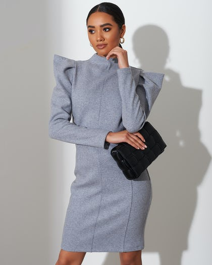Grey Frilled Shoulder Jumper Dress