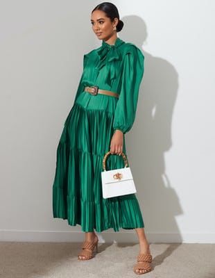 Green Pleated Tie Neck Midi Dress