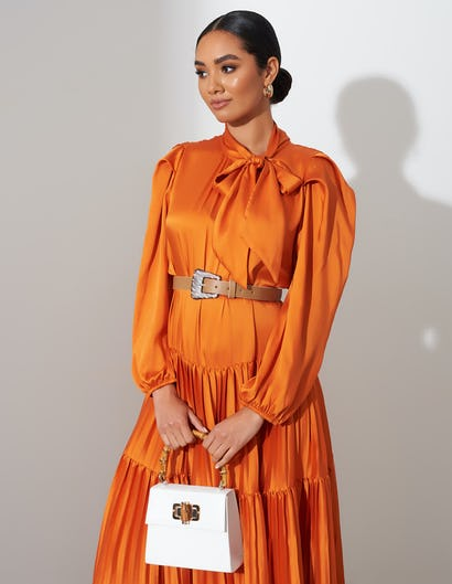 Orange Pleated Tie Neck Midi Dress