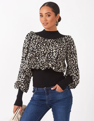 Black and White Leopard Print Jumper