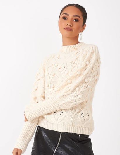 Cream Bobble Knit Jumper