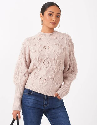 Mauve Bobble Knit Jumper