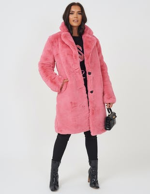 Pink Plush Faux Fur Coat