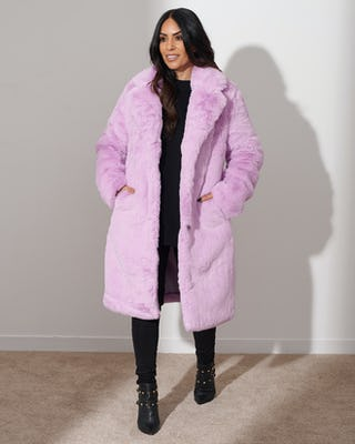 Lilac Plush Faux Fur Coat