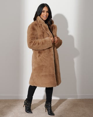 Tan Plush Faux Fur Coat