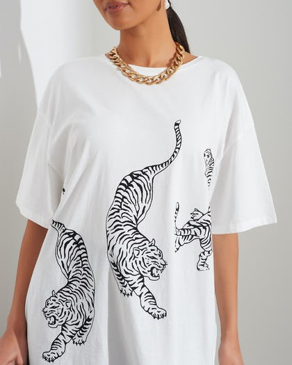 White Tiger Print T-Shirt