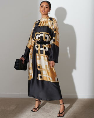 Gold Chain Print Satin Kaftan Dress