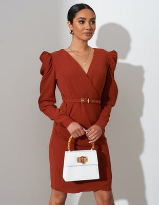 Tan Belted Ruched Shoulder Midi Dress
