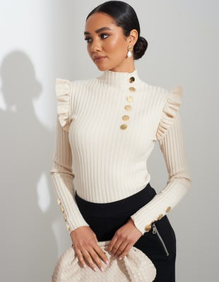 Cream Ribbed Knit Jumper