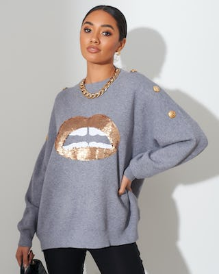 Grey Lips Jumper