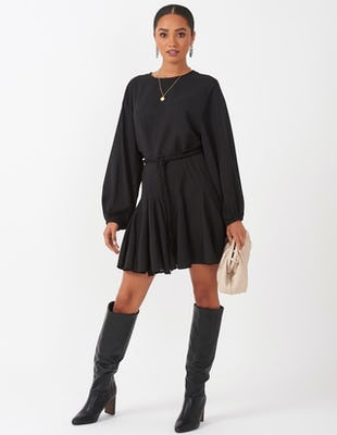 Black Rope Tie Tea Dress