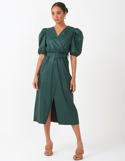 Green Faux Leather Puffed Sleeve Dress