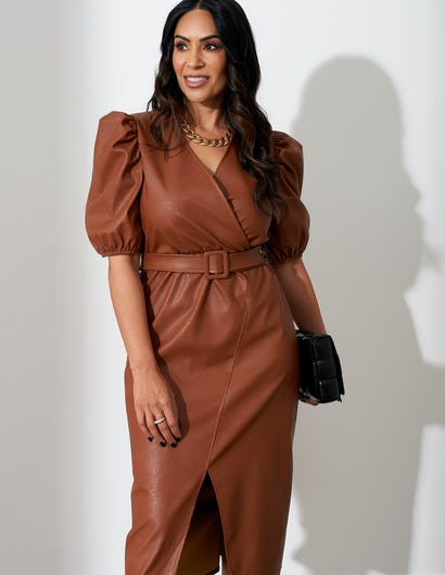 Tan Faux Leather Puffed Sleeve Dress