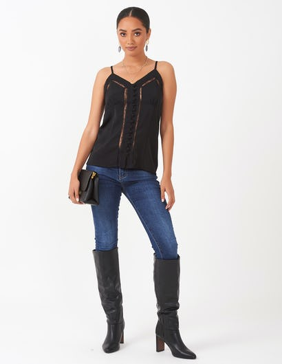 Black Camisole with Lace Insert Detail