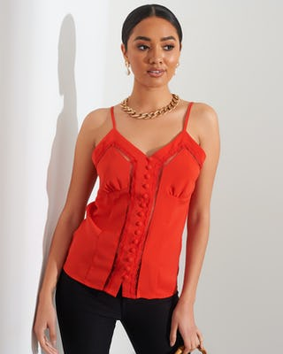 Red Camisole with Lace Insert Detail