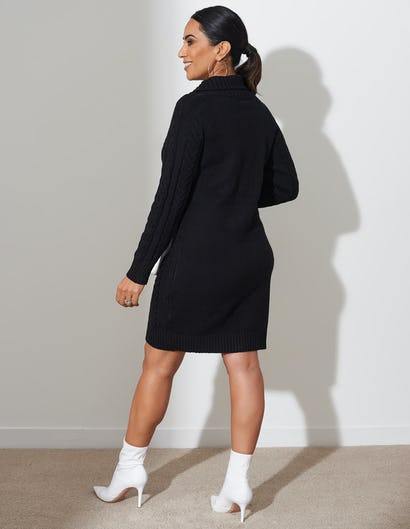 Black Cable Knit Jumper Dress