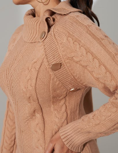 Camel Cable Knit Jumper Dress