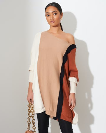Neutral Colour Block Jumper Dress