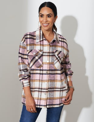 Pink and Brown Checkered Shirt
