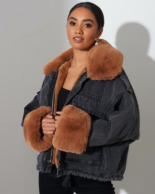 Black Faux Fur Denim Jacket