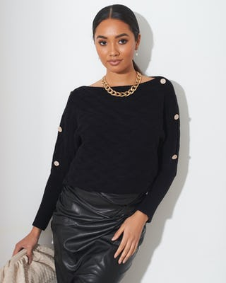 Black Quilted Button Shoulder Jumper
