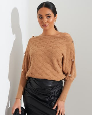 Camel Quilted Button Shoulder Jumper