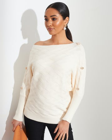 Ivory Quilted Button Shoulder Jumper