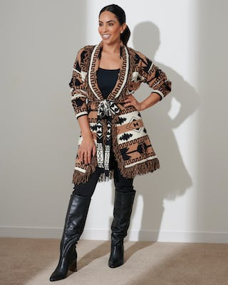 Black and Tan Aztec Print Cardigan