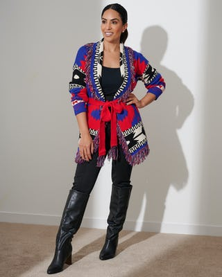 Navy and Red Aztec Print Cardigan