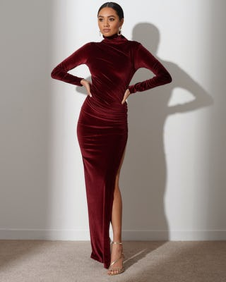 Mahogany Red Extreme Slit Maxi Dress