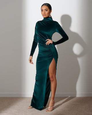 Forrest Green  Extreme Slit Maxi Dress