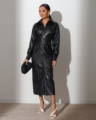 Black Faux Leather Ruched Shirt Dress