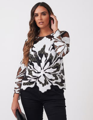 Black and White Sequin Top