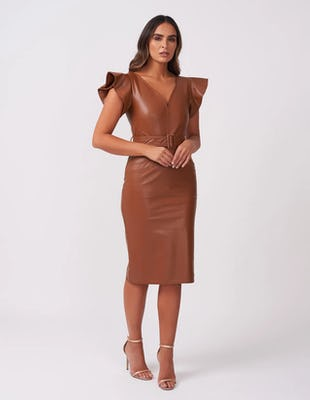 Tan Faux Leather Dress