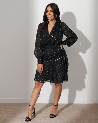 Black Multi Spot Wrap Dress