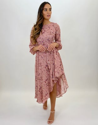 Blush Pink Ditsy Floral Print Asymmetric Midi Dress