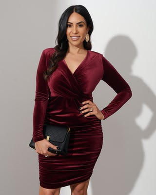 Burgundy Velvet Ruched Dress