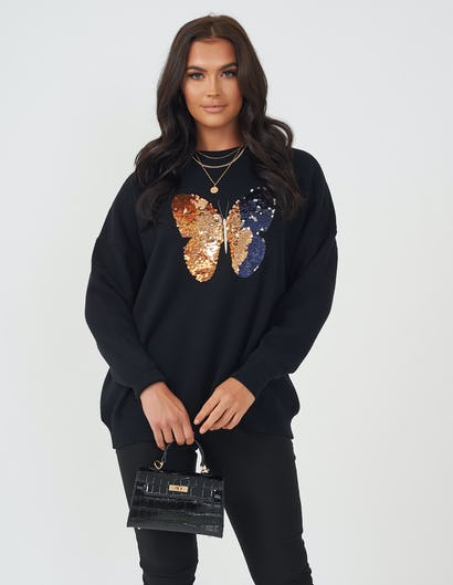 Black Sequin Butterfly Jumper