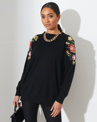Black Sequin Flower Shoulder Jumper