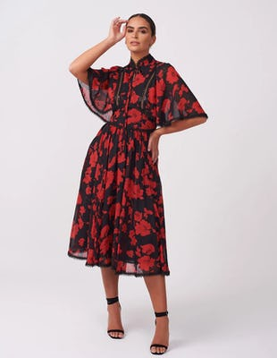 Red & Black Floral Midi Dress