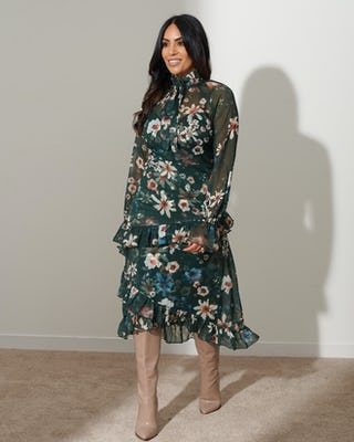 Dark Green Floral Pussy Bow Dress